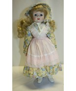 """15"""" Porcelain Doll Blonde Hair Blue Eyes and Dress with Bonnet - $19.79"""