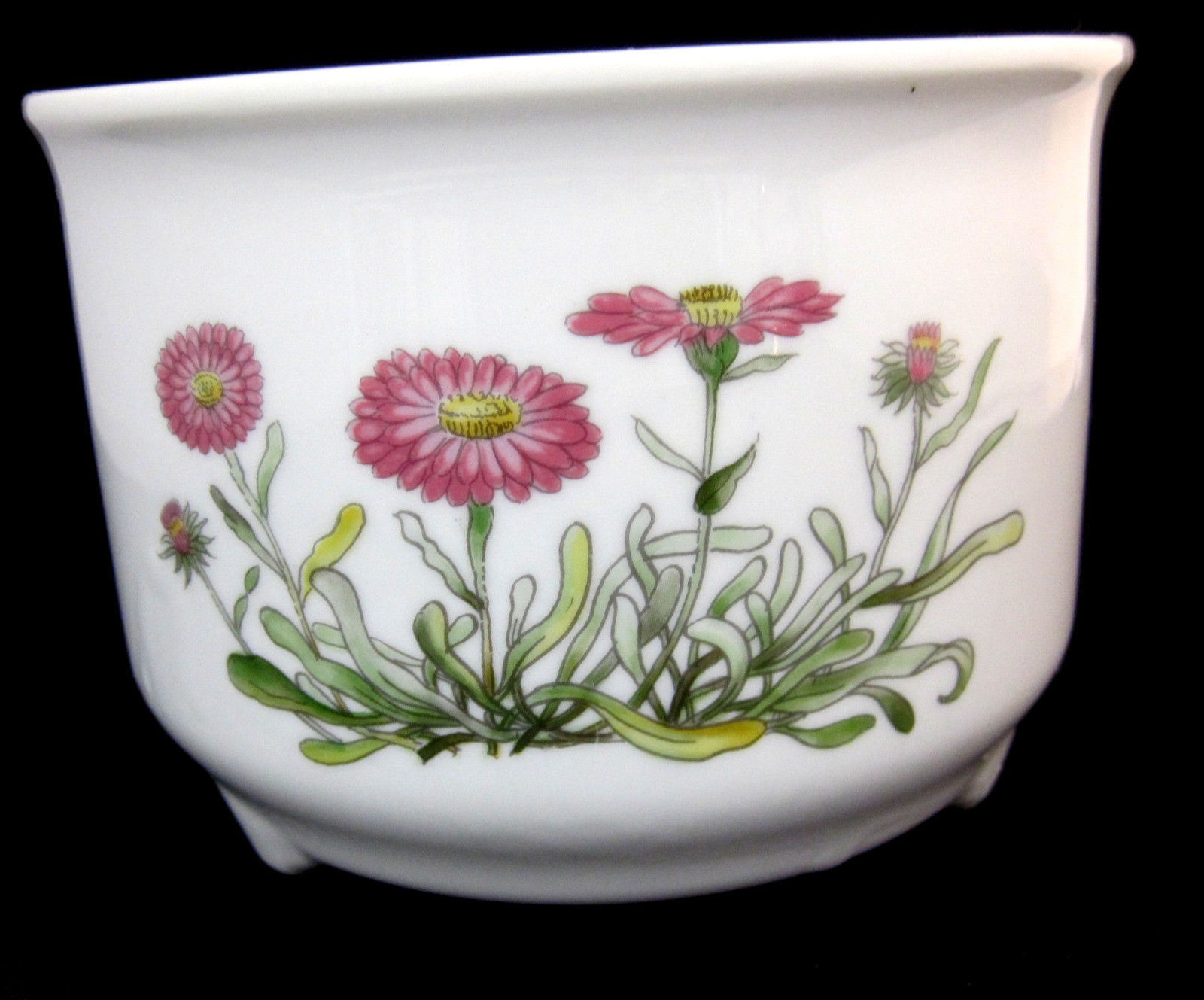 """Takahashi San Francisco Hand-painted Planter Vase Container Flowers White 4.5"""""""