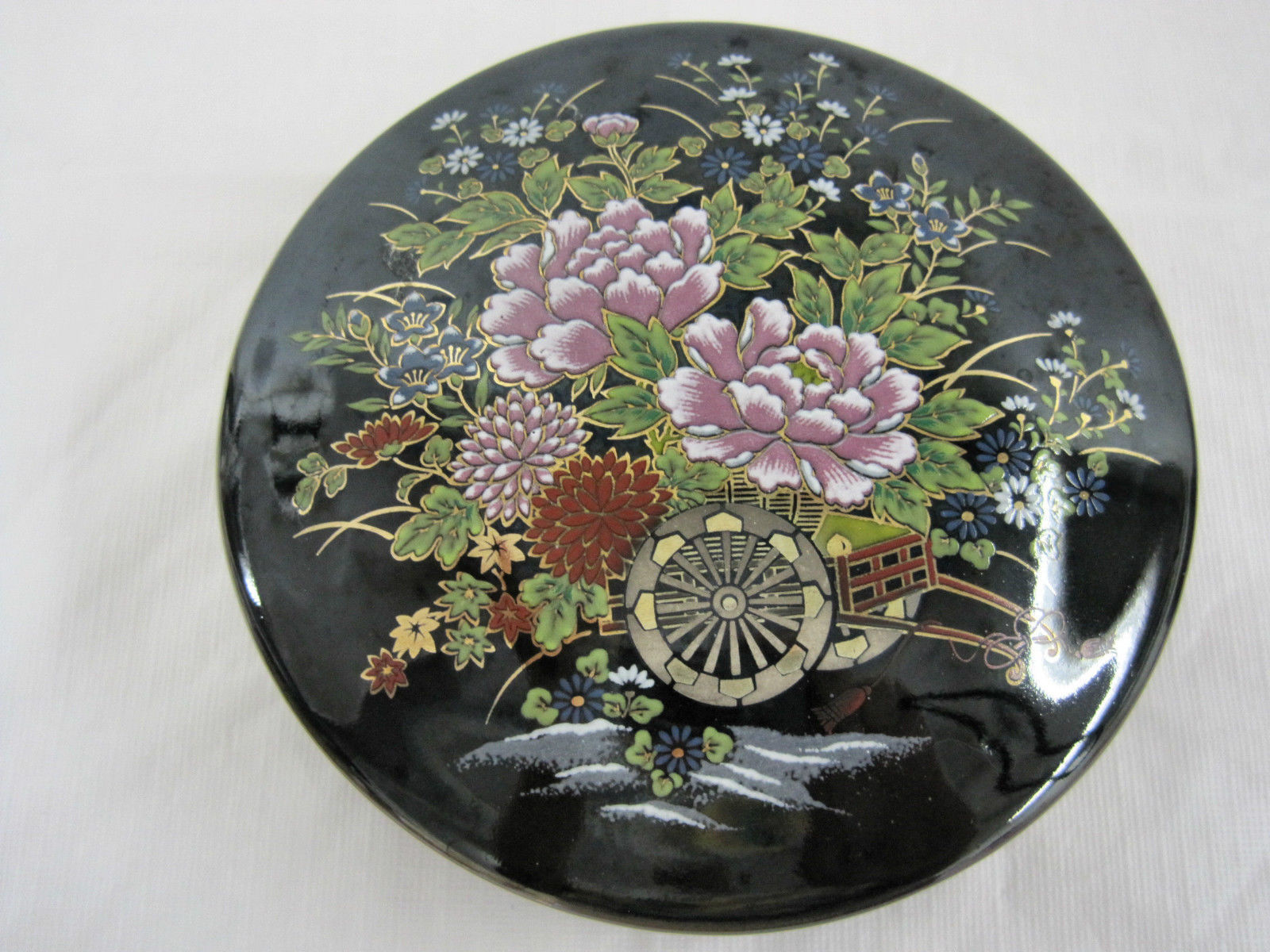 Antique Japanese Imperial Kutani Round Covered Trinket Box Dish Container
