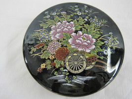 Antique Japanese Imperial Kutani Round Covered Trinket Box Dish Container image 1