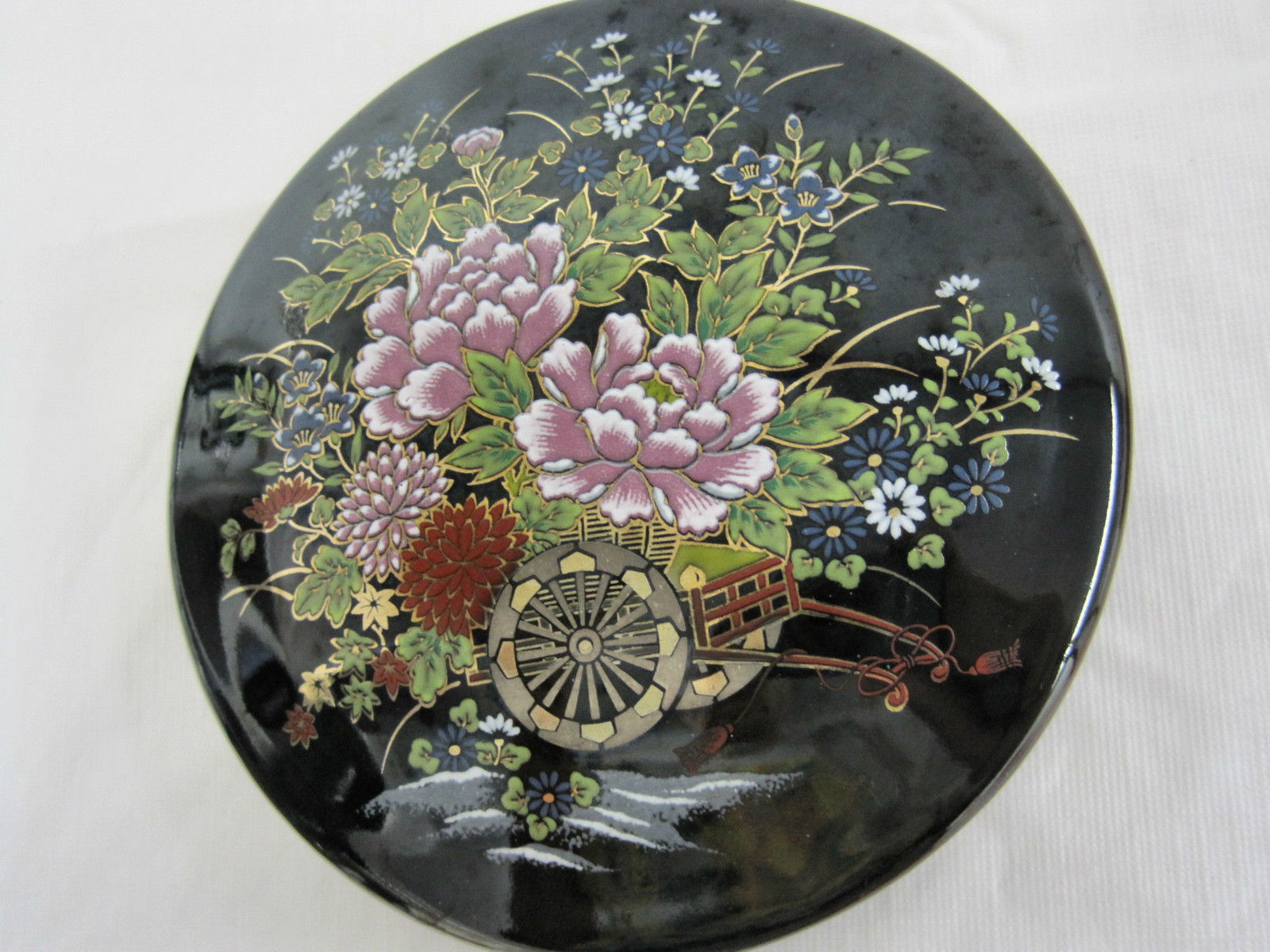 Antique Japanese Imperial Kutani Round Covered Trinket Box Dish Container image 2