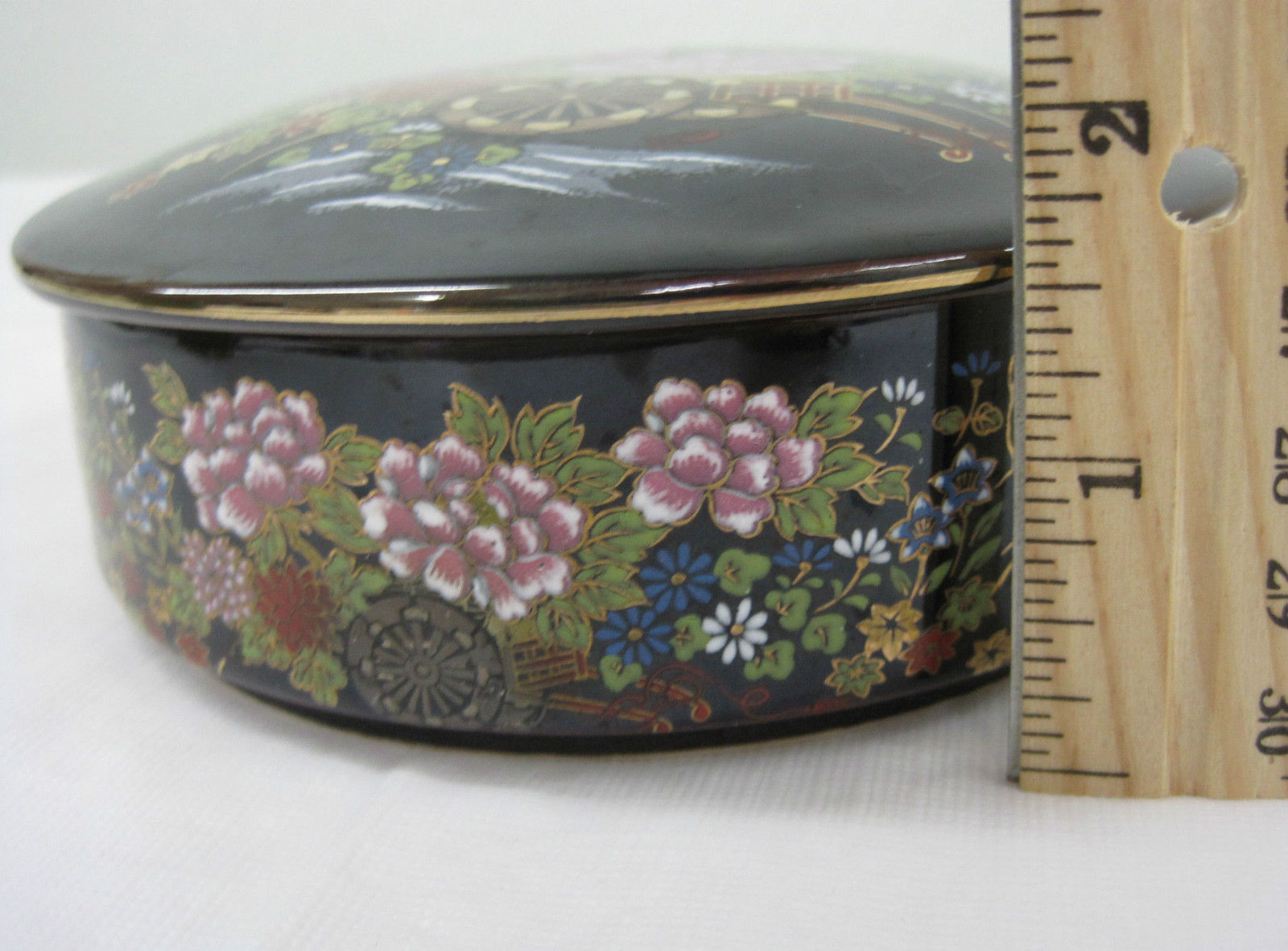 Antique Japanese Imperial Kutani Round Covered Trinket Box Dish Container image 3