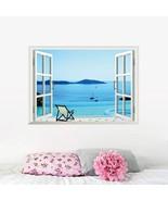 Blue Sea Sand Beach Chair 3D Window Wall Sticker Art Vinyl Decal Decor ... - $18.33