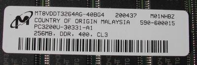 256MB DDR Memory Strip For G5 Power Mac