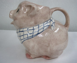 Hand Painted Country Pig  Pitcher Watering Ceramic Tan Splatter Glaze  Vicki image 1