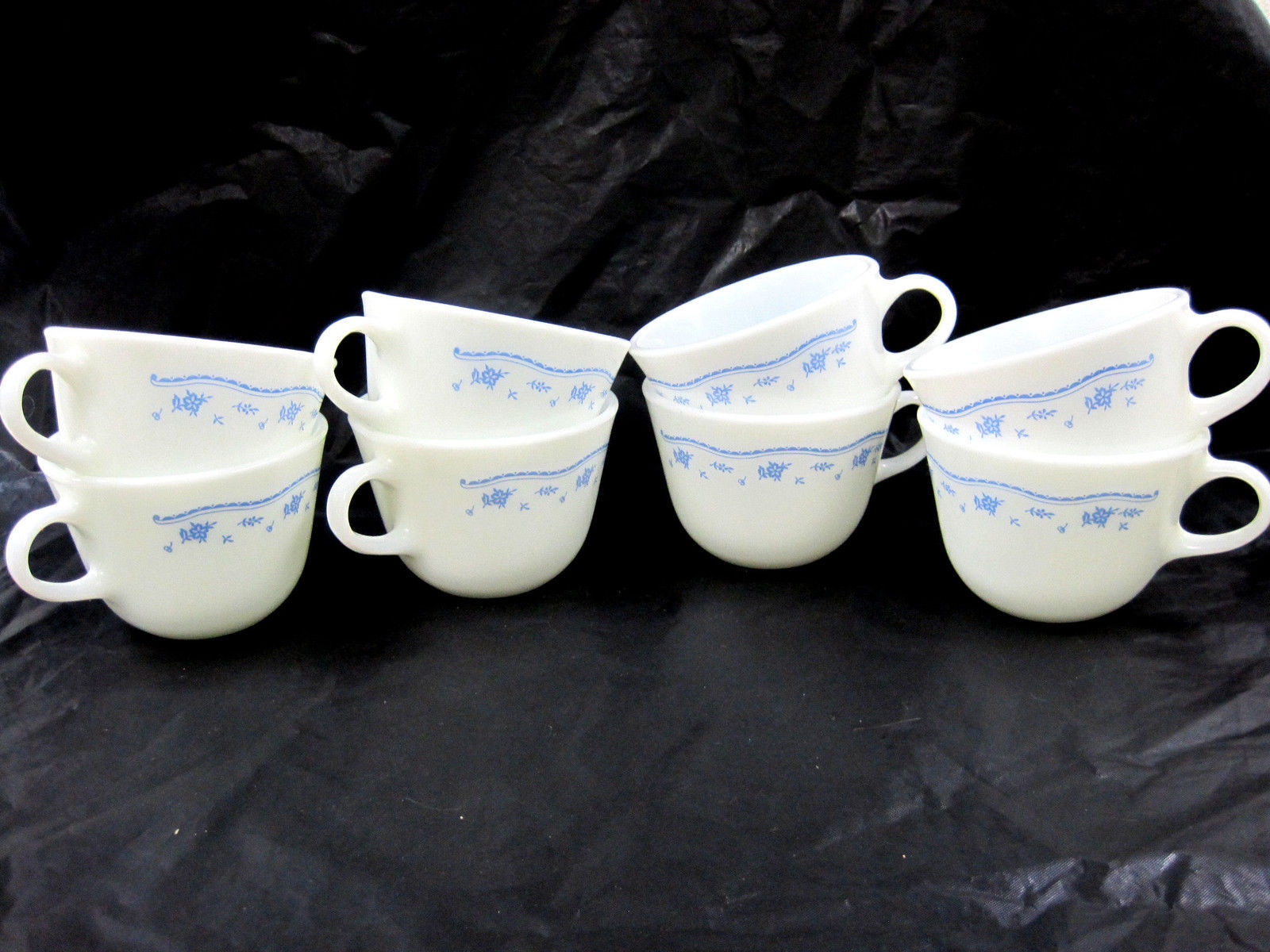 "8 Pryex Corning Ware Cup Mug Milk Glass Morning Blue White Vintage 2.5"" Tall"