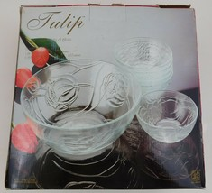 KIG Tulips clear glass Serving Bowl 7 Piece Set 11.4594 - $44.55