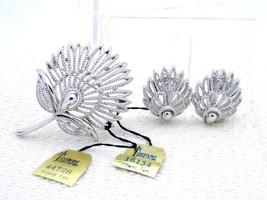 VTG CROWN TRIFARI Silver Tone Flower Fan Brooch Pin Earring Set - $74.25
