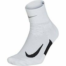 NIKE Unisex Cushion Quarter Running Socks White/Black Size 6-7.5 SX5463-101 - $18.99