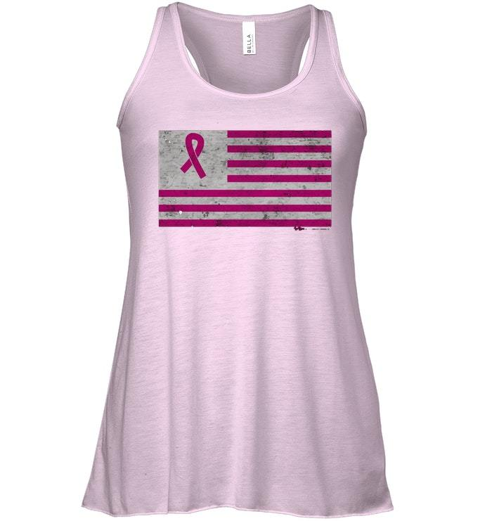 Vintage Breast Cancer Awareness USA Flag Flowy Racerback Tank image 3