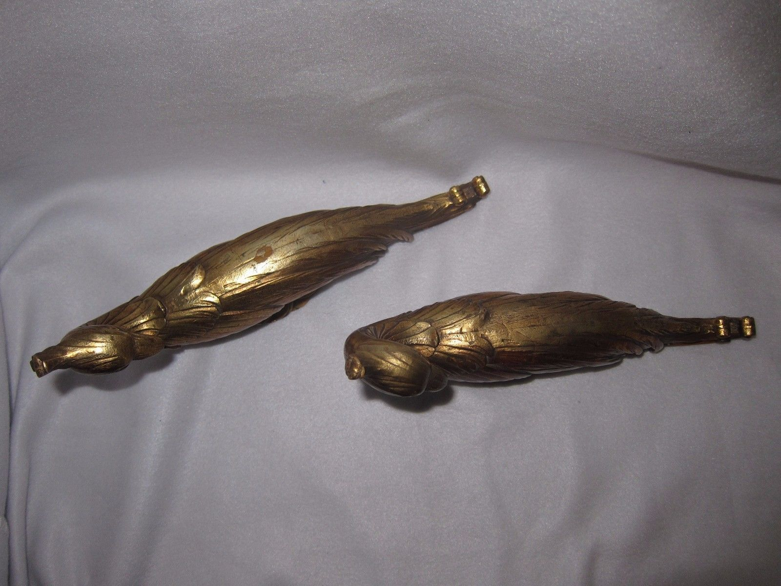 60s Vtg Syroco Wood Resin Gilded Chinese Peacock Pr Figurines Mid Century Modern