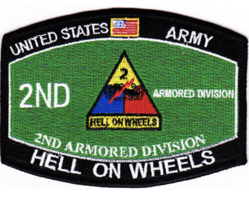 "4.5"" Army 2ND Armored Division Hell On Wheels Mos Embroidered Patch - $17.09"