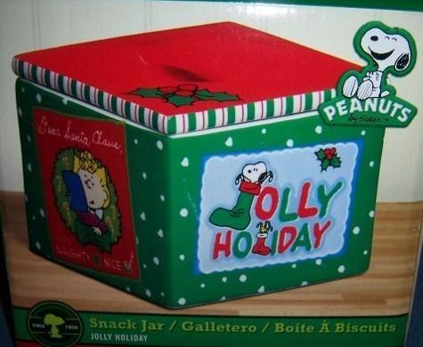 Peanuts Snoopy Christmas Snack Jar Charlie Brown Sally
