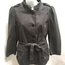 Ann Taylor Loft 6 Safari Military Jacket Gray Belted Epaulets Pockets - $21.54
