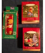 Winnie The Pooh Eeyore Halmark Christmas Ornaments and one Pooh Glass Tu... - $19.97