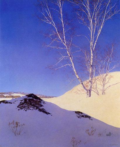 White Birches in Sun 22x30 Hand Numbered Ltd. Edition Maxfield Parrish Art Deco