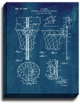 Basketball Hoop Patent Print Midnight Blue on Canvas - $39.95+