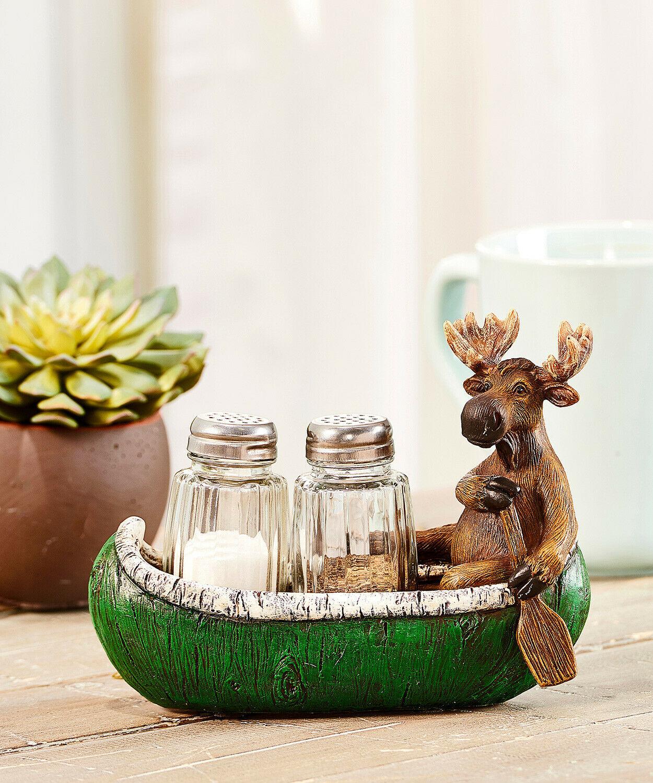Moose in Canoe w Paddle Design Salt & Pepper Set of 2 Glass Shakers Resin