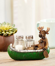 Moose in Canoe w Paddle Design Salt & Pepper Set of 2 Glass Shakers Resin