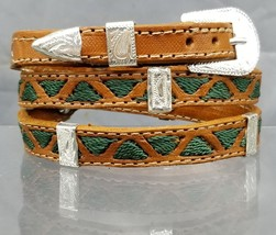 NEW HATBAND BROWN Leather w/ GREEN TRIANGLE Embroidery & Silver CONCHOS Hat Band - $21.71