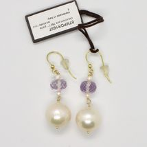 Yellow Gold Earrings 18k 750 Freshwater Pearls and Amethyst Pink Made in Italy image 3