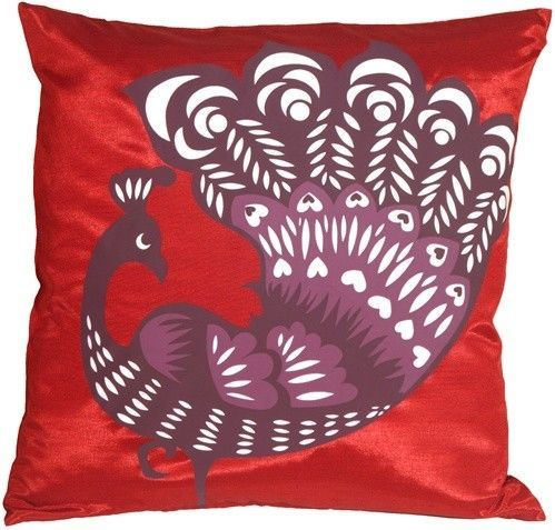 Primary image for Pillow Decor - Proud Peacock Red Throw Pillow (KB1-0014-04-16)