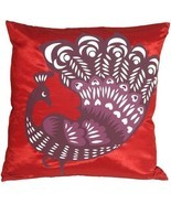 Pillow Decor - Proud Peacock Red Throw Pillow (KB1-0014-04-16) - £23.25 GBP