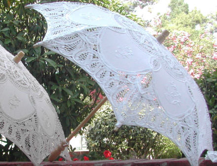 Primary image for Small embroidered Battenberg Lace parasol - Photo prop