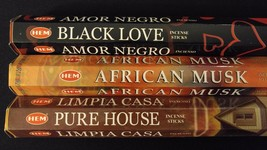 Black Love African Musk Pure House 60 HEM Incense Stick 3 Scent Sampler Gift Set - $7.00