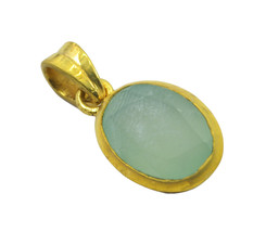 gorgeous Chalcedony Gold Plated Blue Pendant Glass regular US - $11.28