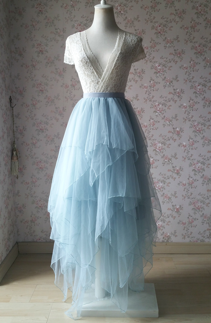 Dusty blue tulle tiered skirt 700 2