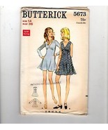 60s Butterick Sewing Pattern 5673 Fitted V-Neck Mini Dress 2 lengths 14 - $12.38