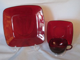 "Vintage Anchor Hocking ""Charm"" Royal Ruby Three Piece Luncheon Set - 1950s - $14.99"
