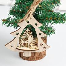 Snowflake Wooden Embellishments Rustic Merry Christmas Tree Hanging Orna... - $1.32