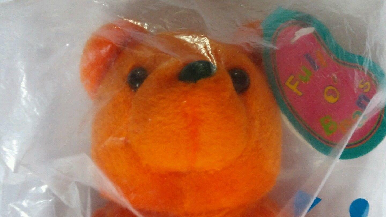 Avon Full O' Beans Bernard Teddy Bear Orange Size 9 inches Stuffed Toy Vtg 1997