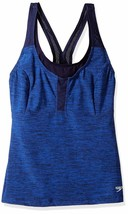 NEW Speedo Women's Heather Touchback Tankini Top Suit Color Starry Blue ... - $27.81