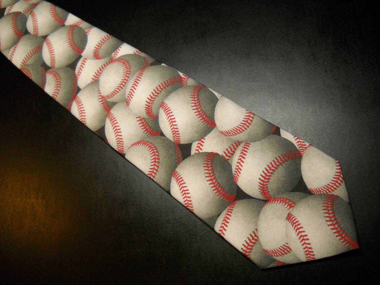 Ralph Marlin Neck Tie Just Balls Baseballs 1995 Monotone Baseballs Red Stitching