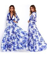 V Neck Beach Flower Dress Sundress Women Lady Sexy Summer Clothes Dresse... - $60.00+
