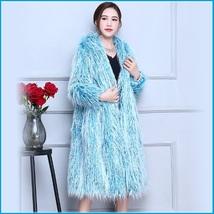 Shaggy Blue Long Hair Mongolian Sheep Faux Fur Long Length Hoded Winter Coat image 2