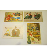 Vintage Thanksgiving Postcards, Lot of Four - Early 1900s, Gilt Work, Em... - $9.99