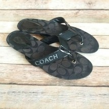 Coach Poppy Skyler Signature Flip Flop Slides Sandals Black 9 B - $19.55