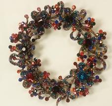 Vintage Style Multi Swarovski Crystal Flower Wreath Brooch Pin - $59.00