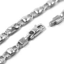 """18K WHITE GOLD CHAIN NECKLACE FLAT MARINER OVAL ALTERNATE ROUNDED LINKS 24"""" 60cm image 2"""