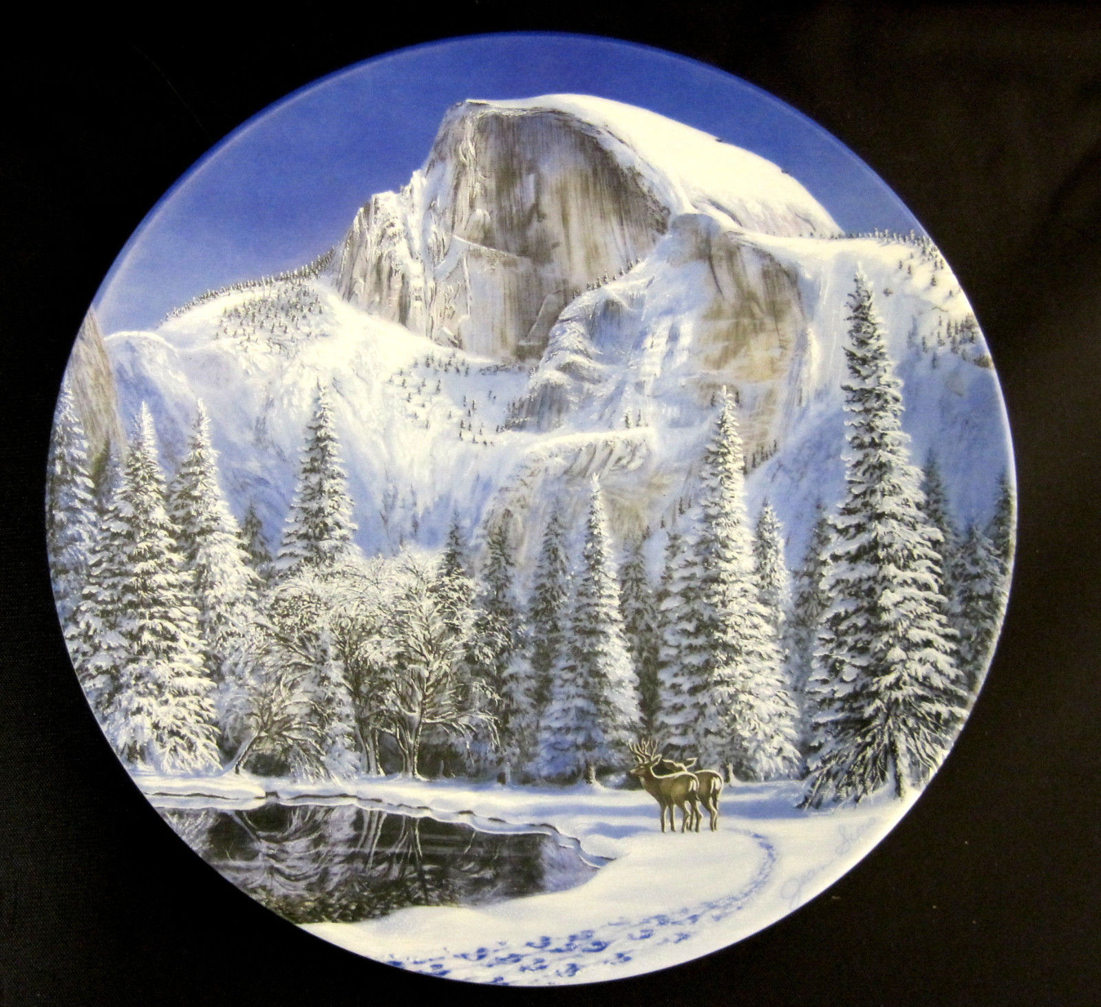 Blue Snow At Half Dome Collector Plate 1990 by Jean Sias Wildlife Society