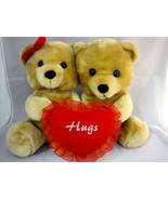 "2 Goffa Int'l Teddy Bears Valentine Hug Lovable Hearts Tan 10.5"" Tall - $34.50"