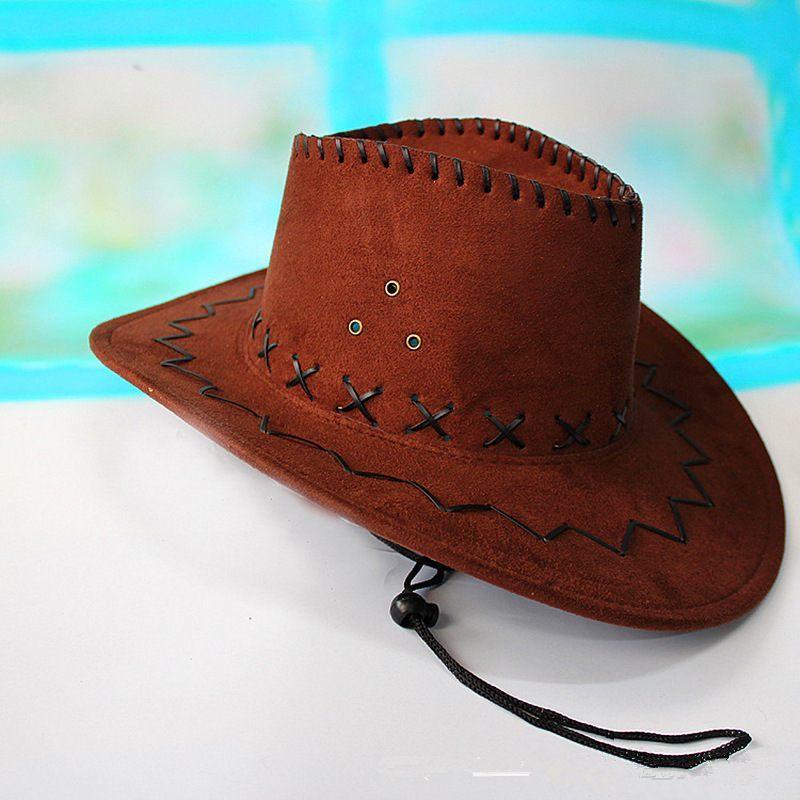 Coffee Cowboy Hat Suede Look Wild West Fancy Dress Men Ladies Cowgirl Unisex Hat image 4