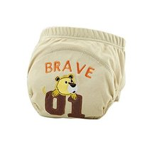 Lovely Cartoon Animal Pattern Baby Elastic Cloth Diaper Cover (M,9-11KG,Bear)
