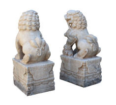 Chinese Pair Off White Marble Stone Fengshui Foo Dogs Statues cs3224 image 5