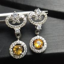 Yellow Citrine Stud Earrings Women, 925 Sterling Silver Jewelry - $42.11