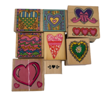 Lot of 9 Heart Themed Rubber Wood Stamps Mixed Brands  - $18.00
